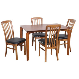 Scandi Table & Mary Chairs - 5 Piece Dining Set (Teak/Blk) - Indoor Setting - DYS Indoor
