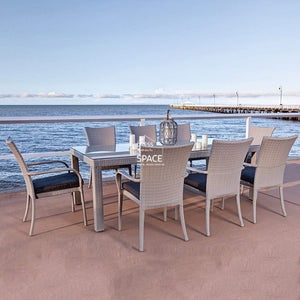 Stanley - Lucia Arm 9 Piece Set - Soft Grey - Outdoor Dining Set - DYS Outdoor