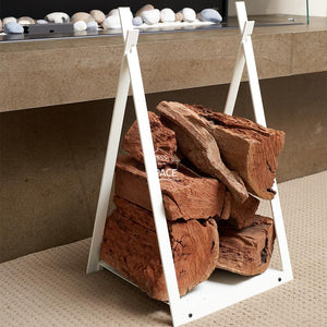Tom Horn - White - Log Rack - Wood Log Holder - DYS Fireplace Accessories