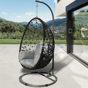 Turin Rope Egg Chair - Black - Outdoor Hanging Pod - DYS Outdoor