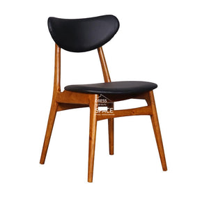 Valentina Chair - Teak/Black PU - Indoor Dining Chair - DYS Indoor