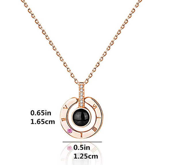 "100 Languages ""I Love You"" Necklace - Rose Gold"