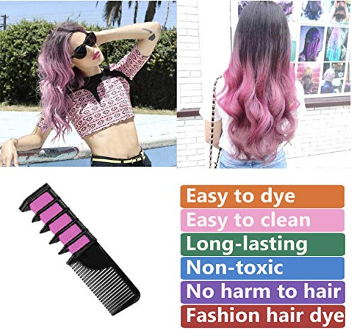 GoldTech Products Hair Chalk Comb 6 Bright Colors Temporary Hair Color Dye Marker for Adults, Girls, Kids Ages 4, 5, 6, 7, 8, 9, 10, Great as Gifts for Birthday, Christmas, Halloween, Cosplay, Party