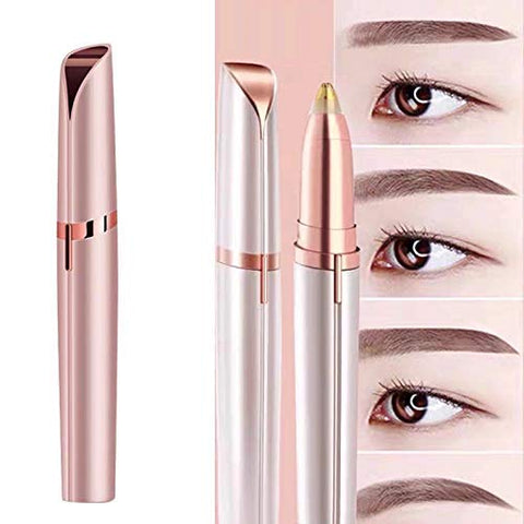 GoldTech Products Eye Brow Trimmer - Eyebrow Hair Remover, Portable Eyebrow Epilator Razor Pen with LED Light, Eyebrow Shaver Tool for Eye Brows, Face, Lips, Nose, Rose Gold