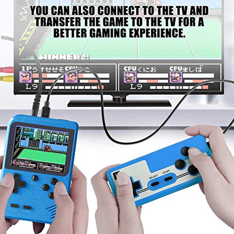 Image of Goldtech Retro Mini Handheld Game Console Retro Game Machine with 400 FC Classic Games 3.0-Inch Color Screen Support for Connecting TV & Two Players 800mAh Rechargeable Battery Gift For Kid/Adult Blue