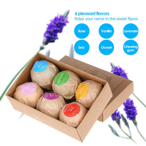 Image of GoldTech Products Bath Bombs Gift Set - Large Bath Bombs with Organic Shea Butter & Essential Oils - Best Bath Bomb Gifts for Mother's Day & Birthday - Set of 6