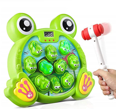 Image of GoldTech Whack A Frog Game Durable Pounding Toy, Boys & Girls Gift Ages 2,3,4,5,6,7,8,9,10 Years Old / Educational STEM, Fine Motor Skills, Includes 2 Hammers, Interactive Fun Toy with Music & Lights