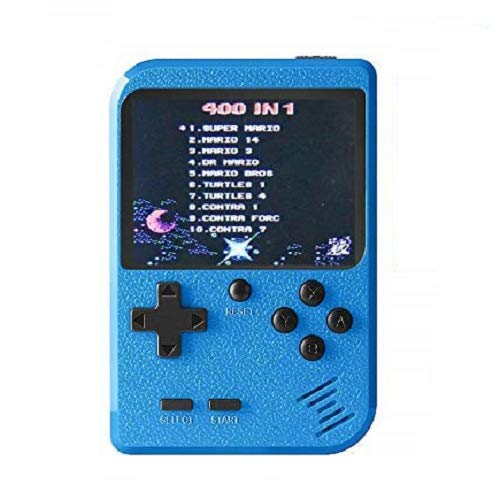 Goldtech Retro Mini Handheld Game Console Retro Game Machine with 400 FC Classic Games 3.0-Inch Color Screen Support for Connecting TV & Two Players 800mAh Rechargeable Battery Gift For Kid/Adult Blue