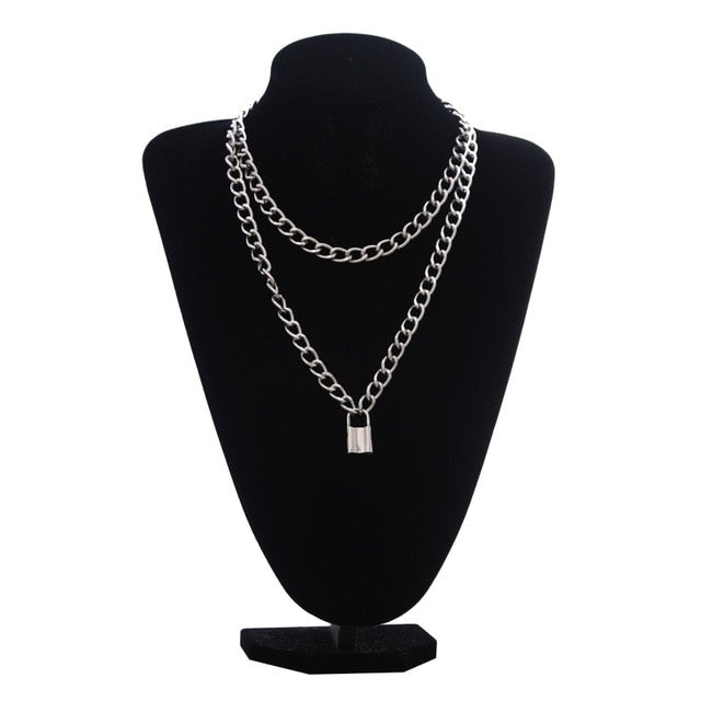 Double layer Lock Chain Neclace