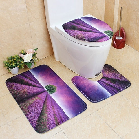 Image of 3Pcs/set Bathroom Mat Set