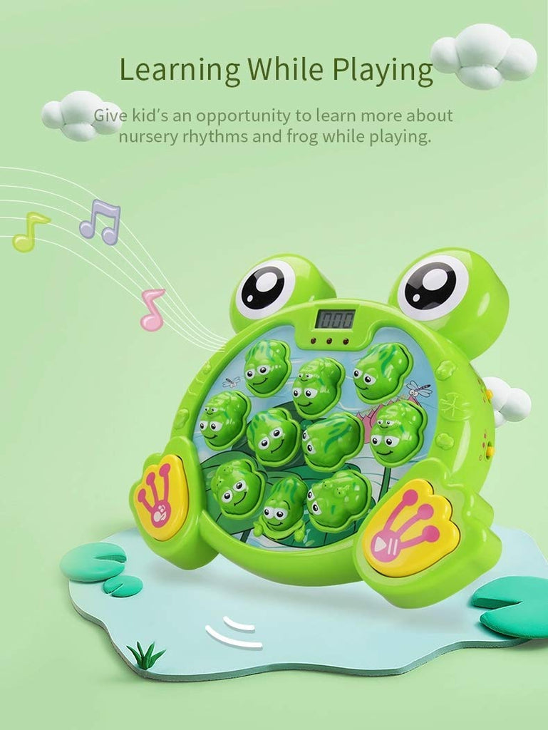 GoldTech Whack A Frog Game Durable Pounding Toy, Boys & Girls Gift Ages 2,3,4,5,6,7,8,9,10 Years Old / Educational STEM, Fine Motor Skills, Includes 2 Hammers, Interactive Fun Toy with Music & Lights