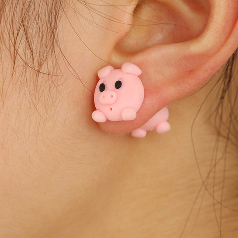 Cute Small Pig Stud Earrings For Women