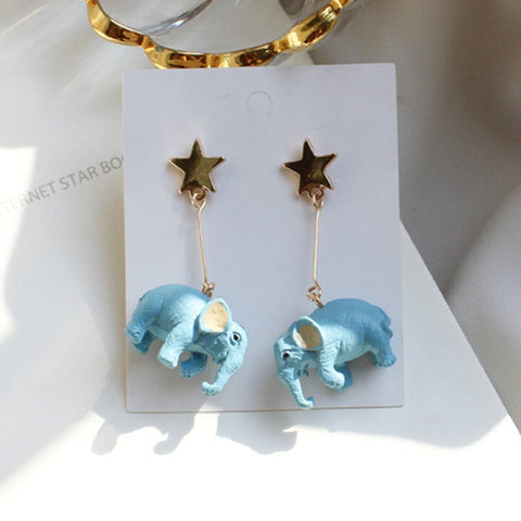 Thai Blue Elephant Stud Earrings