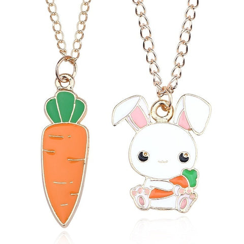 Cute Rabbit Carrot Charm Pendant With Necklace