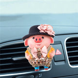 Cute Diamond Pig Doll Car Freshener