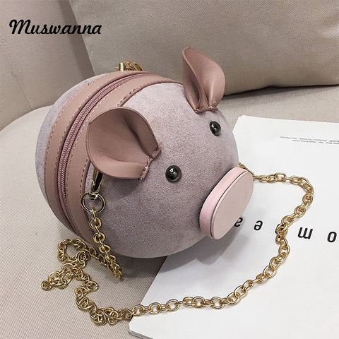 Cute Pig Suede Crossbody Women Bag