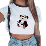 Ladies Sexy Short Panda Tshirt