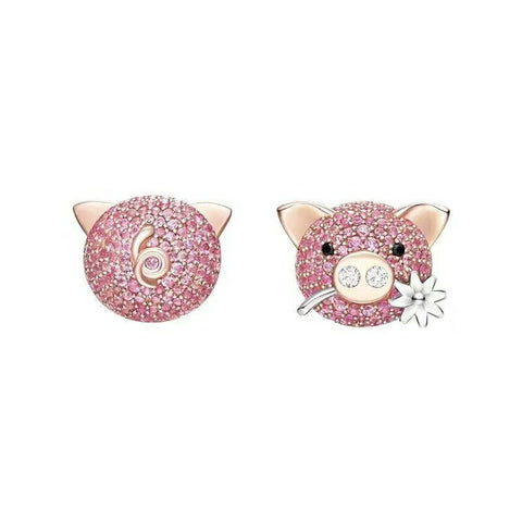 Very Cute Pig Zircon S925 Sterling Silver Stud Earrings