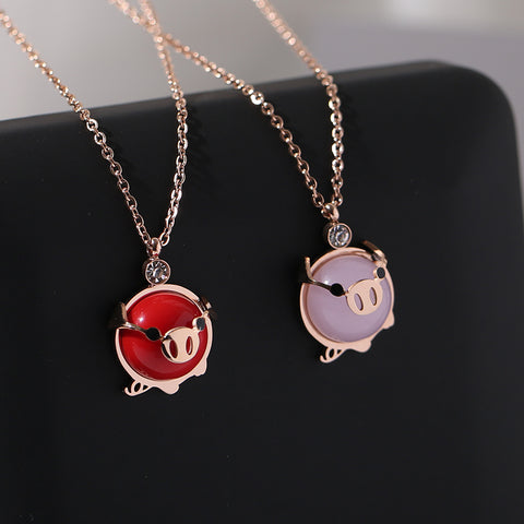 Rose Gold Fashion Lucky Pink Crystal Pig Pendant