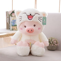 Hooded Plush Pig Doll Transforms into White Cat/Pink Bear/Purple Dog Fluffy