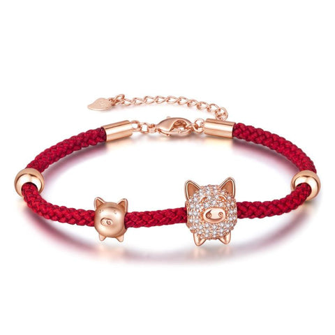 Cute Pig Adjustable Braided Bracelet For Women
