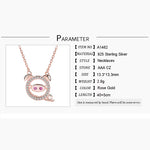 925 Sterling Silver Pig Pendant With Necklace