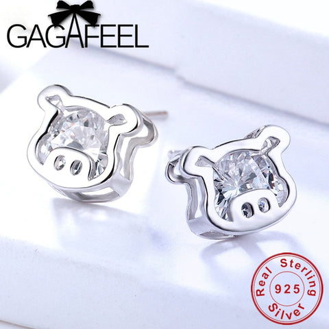 Silver 925 Sterling Pig Head Stud Earrings for Women