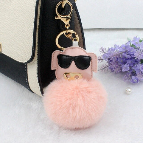 Fluffy Pig With Sunglasses Keychains