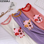 Casual Knit Pig Embroidery Women's T-Shirt