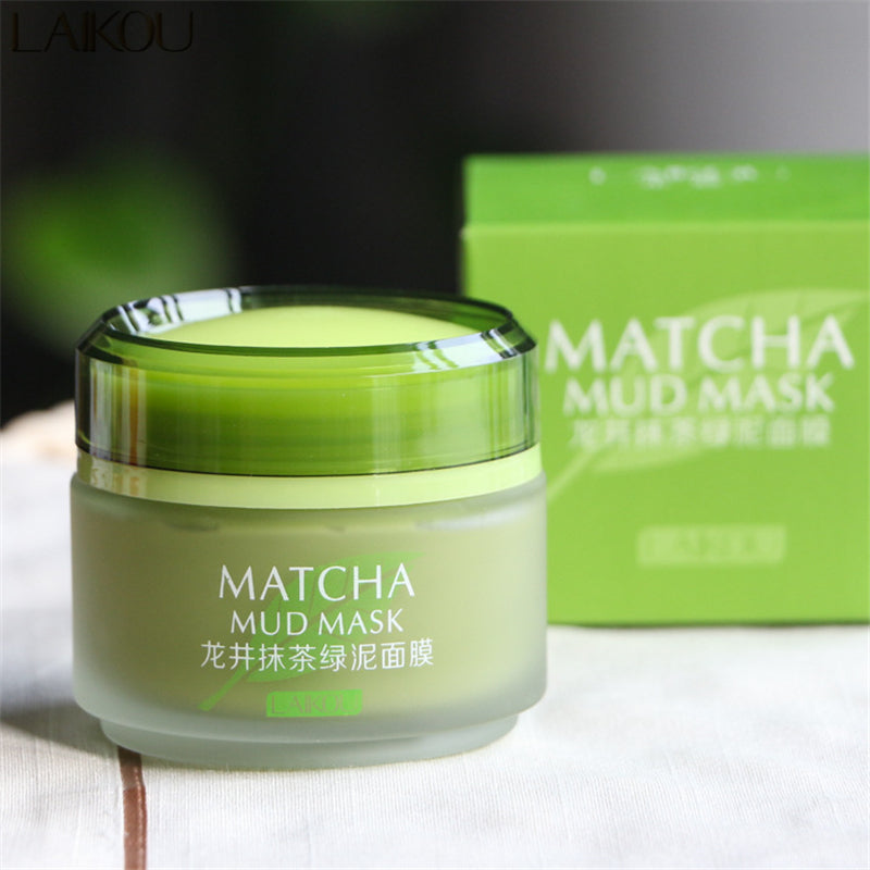 LAIKOU Matcha Mud Mask Facial Mask Cream Deep Cleaning Moisturizing Oil-Control Acne Treatment Blackhead Remover Pore Cleanser