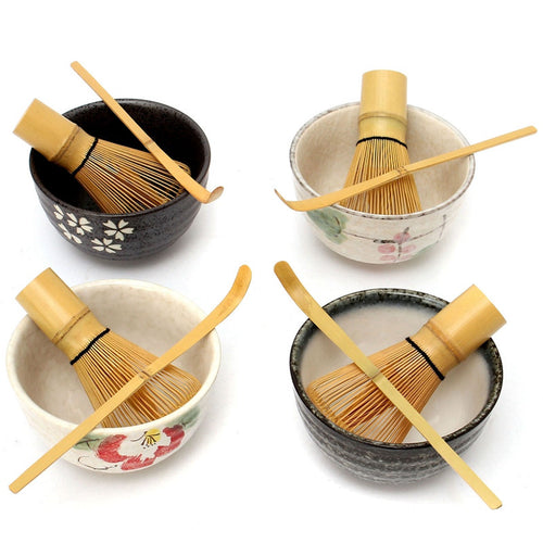 Japanese Ceremony Matcha Ceramic Bowl With Bamboo Whisk Scoop Teaware Tool Set 4 Style For Coffee And Tea