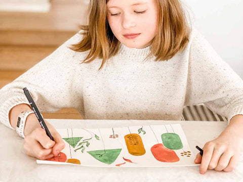 Creative Kids activity geometric trees using with water colour and fine liner