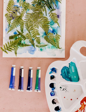 Creative Kids watercolour kit painting with leaves