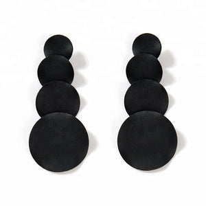 Edgy Matte Black Waterfall Earrings