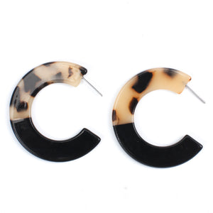 Day and Night Two Tone Hoop Earrings