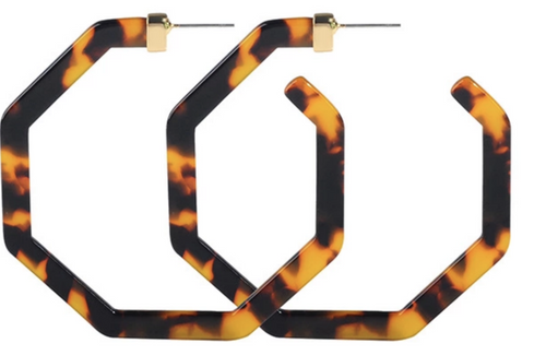 Ally Tortoise Shell Hoop Earrings