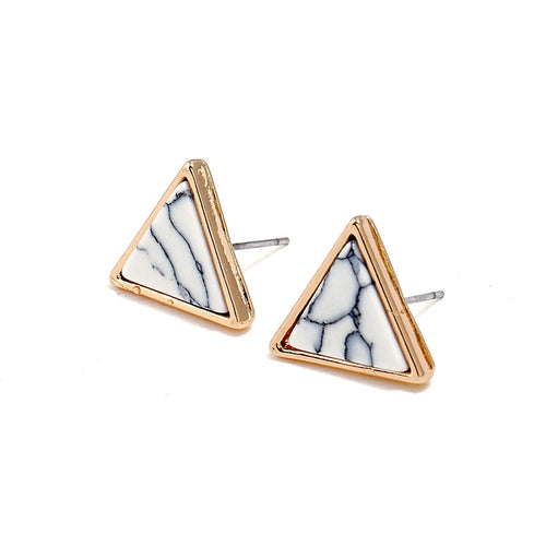 Marble + Gold Triangle Stud Earrings