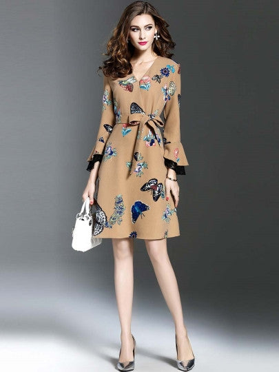 Bell Sleeve Butterfly Lace Up Grace Women's Day Dress
