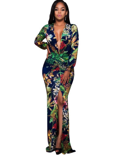 V Neck Long Sleeve Green Women's Maxi Dress