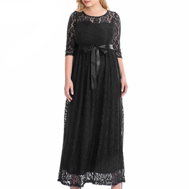 Elegant O-neck Belted Party Lace Dress