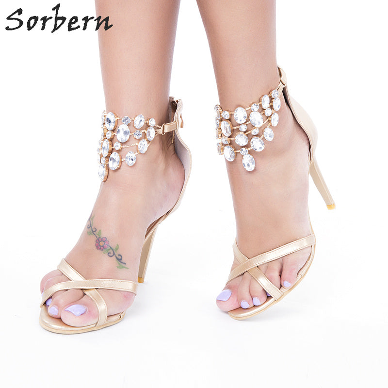 Sorbern Crystal Gold Women Sandals Shoes Plus Size Zipper Sandalias Mujer 2017 PU Ladies Party Shoes Sandals Designer Shoes