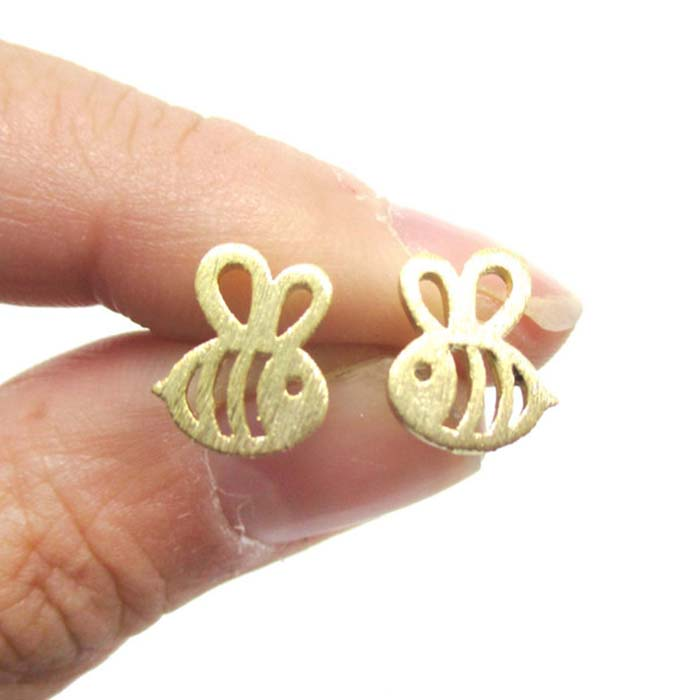 Zinc Alloy BEE INSECT SHAPED STUD EARRINGS