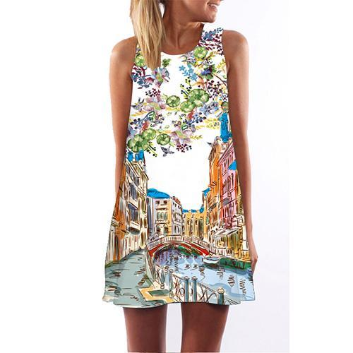 Women's Floral Print Chiffon Dress