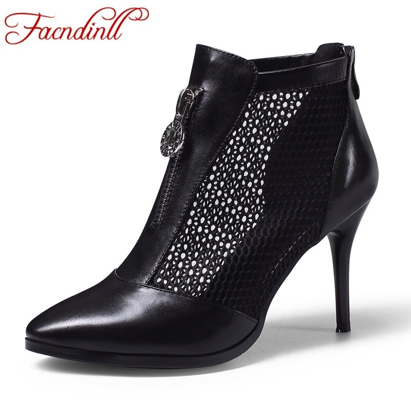 FACNDINLL fashion soft leather+mesh brand shoes woman spring summer ankle boots sexy high heels ladies riding boots dress shoes