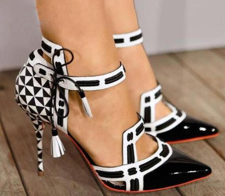 2018 High Heels Ankle Strap Party Shoes White/Black Straps Women Sexy Pumps Black Patent Leather Toe Ladies Fashion