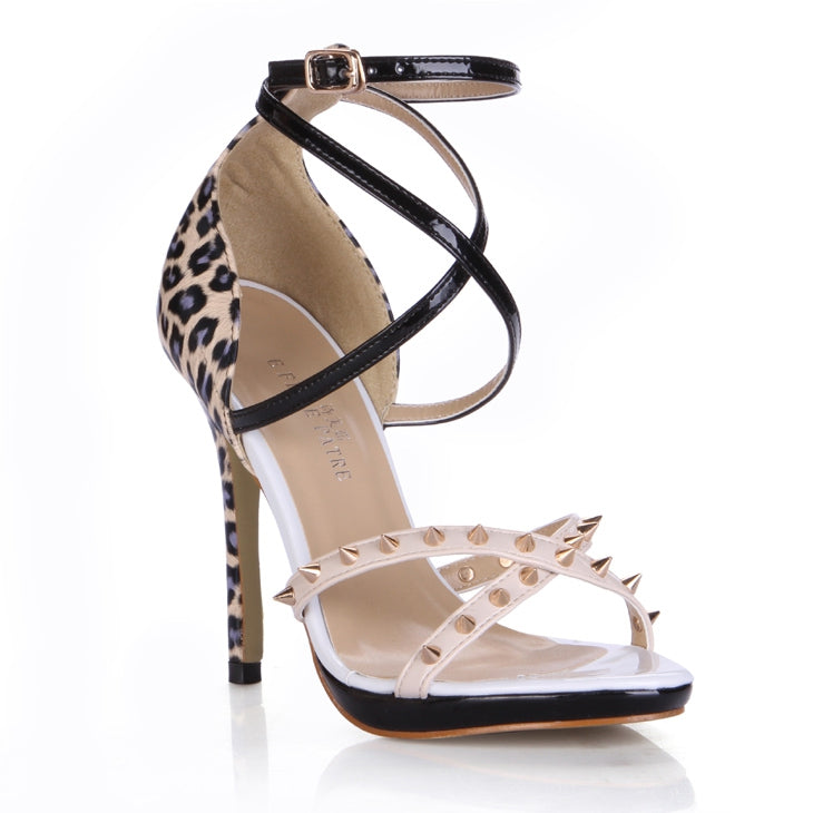 New Leopard Style Cover Heel Ankle Strap Buckle Cross Rivets Tied Prom Shoes Women Thin Heel High Size Lady Summer Sandals