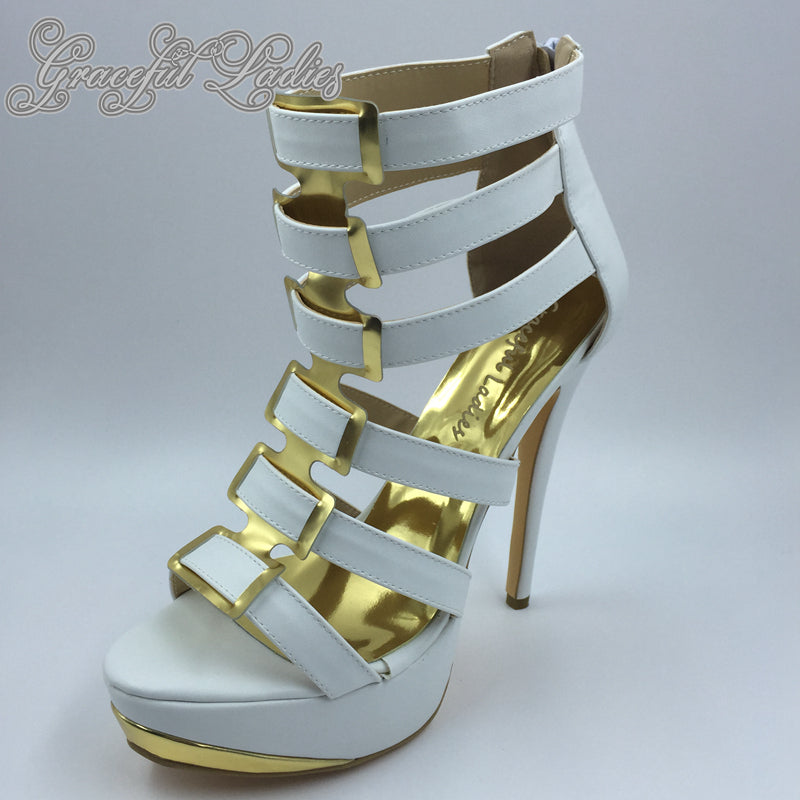 White Soft Leather High Heel Sandals Open Toe Platform Cheap China Shoes Ladies Plus Size Prom Heels Summer Style Sandal
