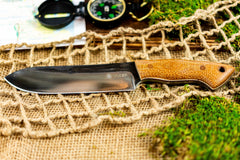 Brüder Brute Camp Knife- Chocolate Burlap - 5160 Steel