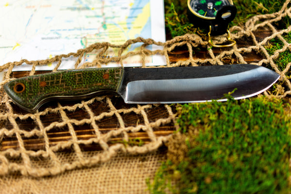 Brüder Brute Camp Knife- Green Loose Weave - 5160 Steel
