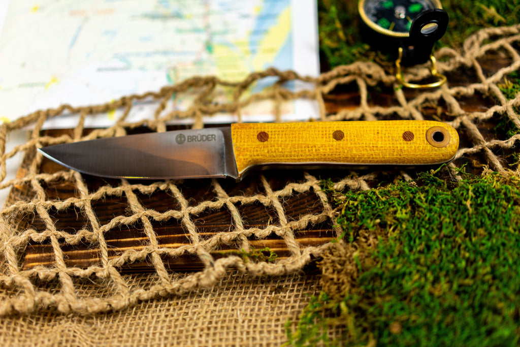 Brüder Alger Bushcraft Knife - Corncob Yellow - Flat Grind